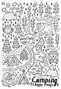 Hand drawn vector maps. Print for camping and outdoor activities in contour