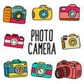Set of doodle photo camera Royalty Free Stock Photo