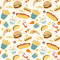 Hand-drawn vector seamless fast food pattern