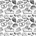 Hand drawn vector seamless pattern - collection of goodies, swee