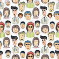 Hand drawn vector seamless pattern with crowd of funny worker peoples. Doodle faces background Royalty Free Stock Photo