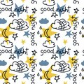 Hand drawn vector seamless pattern. The inscription Good night, clouds, stars, moon. White background