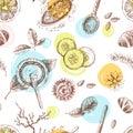 Hand drawn vector seamless pattern, organic cosmetics, spa.