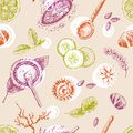Hand drawn vector seamless pattern, organic cosmetics, spa.