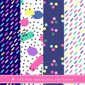 Hand drawn vector seamless pattern in retro memphis style. 80s disco style ornament in bright colors for fabric, wrapping paper,