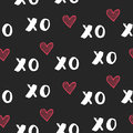 Hand drawn vector seamless pattern with XOXO