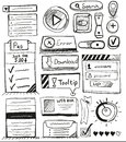 Hand drawn vector set of user interface design Royalty Free Stock Photos