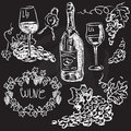 Hand drawn vector set wine and winemaking chalkboard Stock Photos
