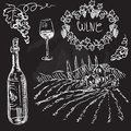 Hand drawn vector set wine and winemaking chalkboard Stock Images