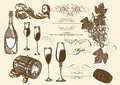 Hand drawn vector set wine and winemaking elements Royalty Free Stock Photo
