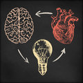 Hand drawn vector sketch illustration - creative vintage poster design, brain, heart and light bulb, black chalkboard