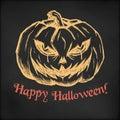 Hand drawn vector sketch illustration - creative vintage tee shirt apparel print poster design, Halloween evil pumpkin Royalty Free Stock Photo