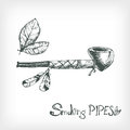 Hand drawn vector smoking indian pipe, sketchy engraving style. Royalty Free Stock Photo