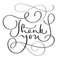 Hand drawn Vector Thank you text on white background. Calligraphy lettering illustration EPS10 Royalty Free Stock Photo
