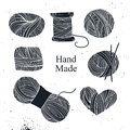 Hand drawn vector vintage illustration - Set of knitting Royalty Free Stock Photo