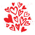 Hand drawn vector vintage texture. Collection with ink hearts. I Royalty Free Stock Photo