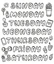 Hand drawn vector weekdays and elements for notebook, diary, calendar, schedule, sticker, bullet journal, and planner.