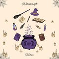 Hand drawn vector witchcraft set. Includes potions, herbs, books, witches hat and broom, candles, magic wand and cauldron
