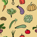 Hand drawn vegetable seamless pattern. Vector illustration