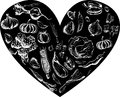Hand drawn vegetables set with black heart vector Royalty Free Stock Photo