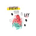 Hand drawn vetor abstract creative funny summer time illustration with watermelomn slice ,arrows and handwritten modern