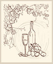 Hand drawn vineyard. Royalty Free Stock Image