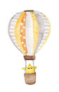 Hand drawn vintage air balloon with star flying in the sky, on white background , with clipping path