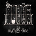 Hand drawn vintage alchemical laboratory icon Royalty Free Stock Photo
