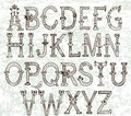 Hand drawn vintage alphabet design Stock Photos