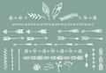 Hand drawn vintage arrows, feathers, dividers and floral elements Royalty Free Stock Photo