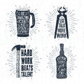 Hand drawn vintage badges set with textured thermo cup, pincers vector illustrations.