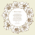 Hand drawn vintage  banner with round frame and place for your text. Royalty Free Stock Photo