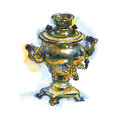 Hand drawn vintage bronze samovar. Watercolor old russian pot in rustic style isolated on white background