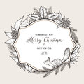 Hand drawn vintage christmas greeting card. Happy Royalty Free Stock Photo