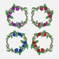 Hand drawn Vintage decorative lovely set of laurels and flower wreaths Doodle ancient roses wreath, decorative design element