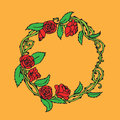 Hand drawn Vintage decorative lovely set of laurels and flower wreaths Doodle ancient wreath, decorative design element