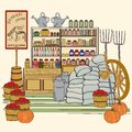 Title: Hand Drawn Vintage General Store