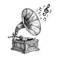 Hand-drawn vintage gramophone with music notes. Vector illustration Royalty Free Stock Photo