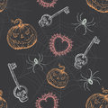 Hand drawn vintage halloween seamless pattern spooky inspired full repeat Royalty Free Stock Photos