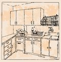 Hand drawn vintage kitchen retro vector concept for artist Stock Photos