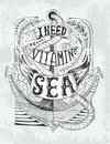 Hand drawn vintage label with an anchor and lettering. Handrawne