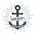 Hand drawn vintage label, retro badge with textured anchor vector illustration. Royalty Free Stock Photo