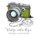 Hand drawn vintage postcard. Camera with pocket watch on a chainon. Vector illustration Royalty Free Stock Photo