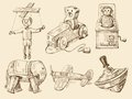 Hand drawn vintage toys collection Stock Photography