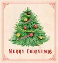 Vintage watercolor Christmas greeting card