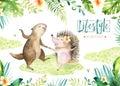 Hand drawn watercolor beaver and hedgehog dancing animals. Boho illustrations, jungle tree, brazil trendy art. Perfect