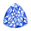 Hand drawn watercolor blue gemstone in the triangular shape Royalty Free Stock Photo