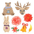 Hand drawn watercolor christmas bear, rabbit, deer, bell, flowers and leaves isolated Royalty Free Stock Photo