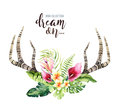 Hand drawn watercolor deer horns with tropical flower bouquets. Exotic palm leaves, jungle tree, brazil tropic botany