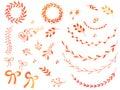 Hand drawn watercolor doodle design elements